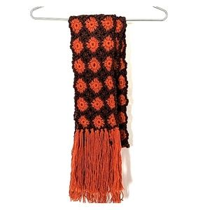 NWOT Orange and Brown Lucky Brand fringed scarf